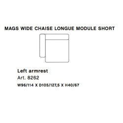 MAGS Wide Chaise Longue Module Short Left Armrest 8262
