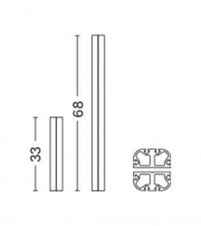 Montant double pour meuble new order / double profile / set de 4