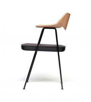Blou-Chaise 675 Case furniture - Robin Day Chair - chene/chrome/cuir