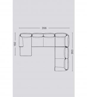 Canapé d'angle Pandarine / Accoudoir cylindrique long