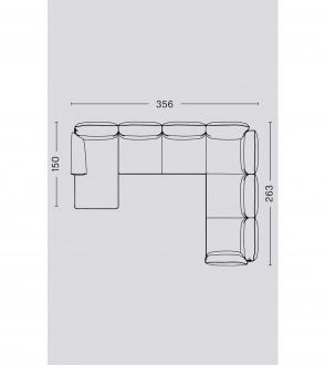 Canapé d'angle Pandarine / Accoudoir mixte