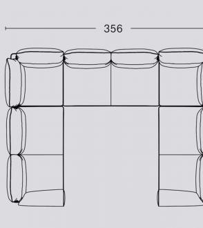 Canapé d'angle doucle Pandarine / Accoudoir cylindrique