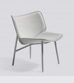 fauteuil dapper pied gris clair coque chêne teinté gris - tapissé en divina mélange 120