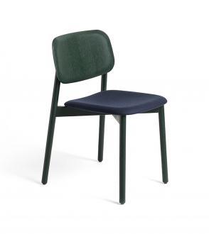Chaise soft edge 12 tapissée en tissu forest nap 792 - pieds bois teinté vert