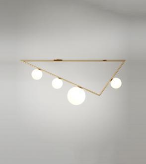 Plafonnier Triangle - 3+1 globes - 1m50