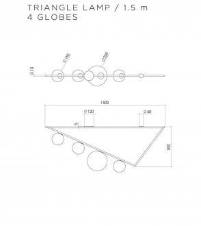 Plafonnier Triangle 4 globes - 1m50