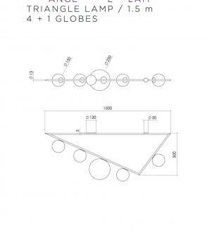 Plafonnier Triangle 4+1 Globes - 1m50