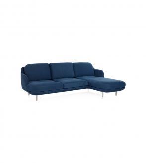 Canapé Lune - 3 places chaise longue droite - Piètement aluminium brossé