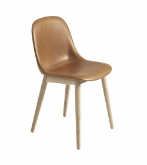 Chaise Fiber - Piètement bois - Entièrement tapissée